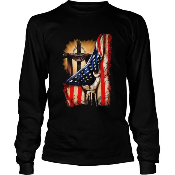 American Flag Cross  Long Sleeve