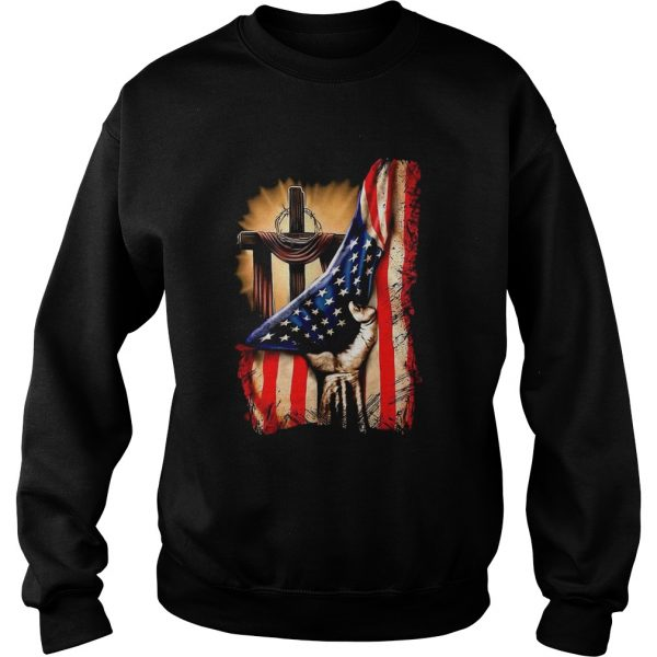 American Flag Cross  Sweatshirt
