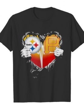 Blood inside pittsburgh steelers vs pittsburgh pirates cap football heartbeat shirt