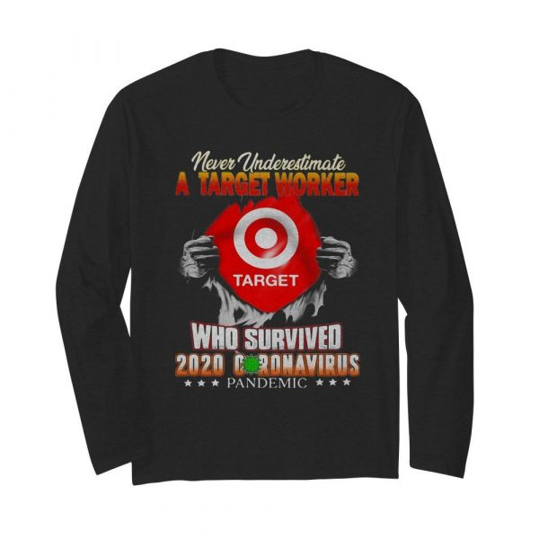 Never underestimate a target worker who survived 2020 coronavirus pandemic  Long Sleeved T-shirt