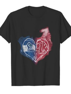 Seattle seahawks and washington state cougars heart smoke shirt