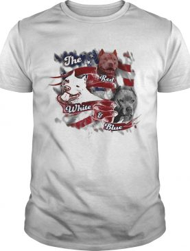The red white and blue pitbull American flag veteran Independence Day shirt