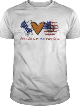 Chihuahua love heart sunflower American flag veteran Independence Day shirt