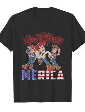 Disney pixar toy woody merica firework american flag independence day shirt