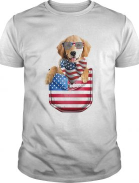 Golden retriever waist pack american flag independence day shirt