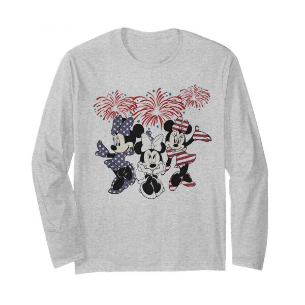 Minnie mouse firework american flag independence day  Long Sleeved T-shirt