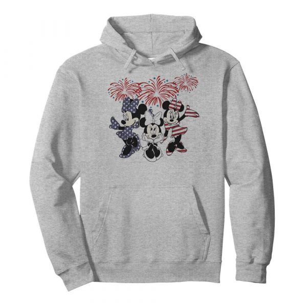 Minnie mouse firework american flag independence day  Unisex Hoodie