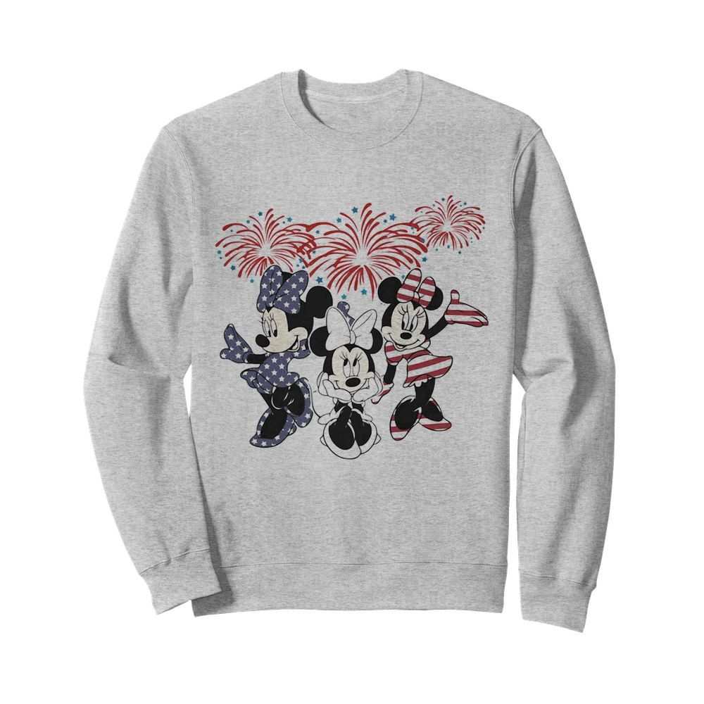 Minnie mouse firework american flag independence day  Unisex Sweatshirt