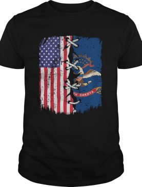 North Dakota And American Flag Independence Day shirt