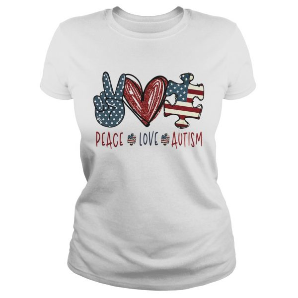 Peace love autism American flag heart  Classic Ladies