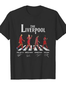 The liverpool abbey road virgil van dijk roberto firmino mohamed salah sadio mane signatures shirt