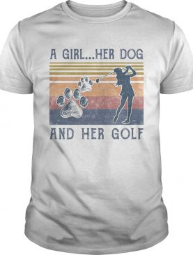 A Girl Her Dog And Her Golf Footprint Vintage Retro shirt