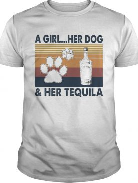 A Girl Her Dog And Her Tequila Footprint Vintage Retro shirt