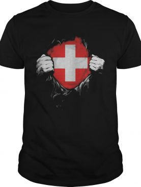 Blood insides switzerland flag shirt