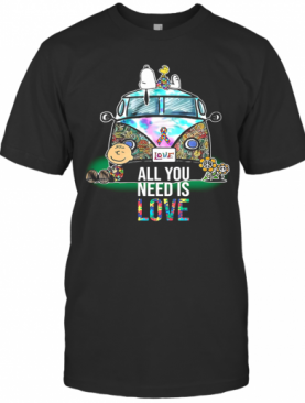Hippie Bus Snoopy And Charlie Brown All You Need Is Love Autism Cancer Awareness T-Shirt