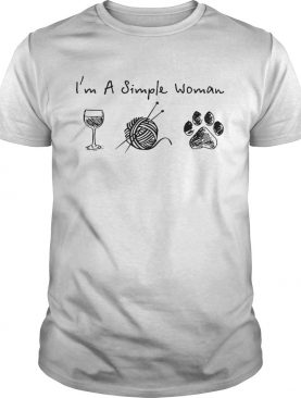 Im a simple woman wine quitting paw dogs shirt