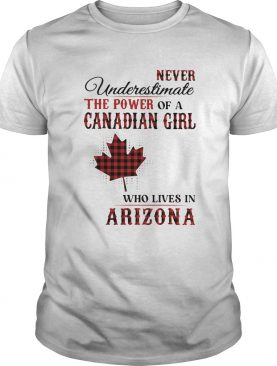 Never underestimate the power of a canadian girl who lives in arizona shirt