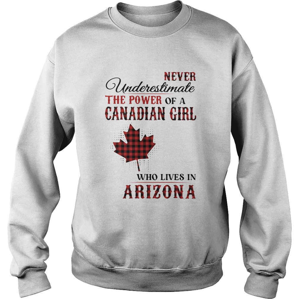 Never underestimate the power of a canadian girl who lives in arizona  Sweatshirt