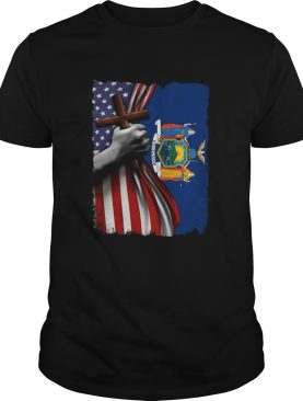 New york american flag cross happy independence day shirt