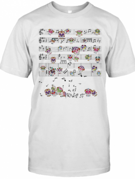 Note Music Key Sol Staves Skullcaps Color T-Shirt