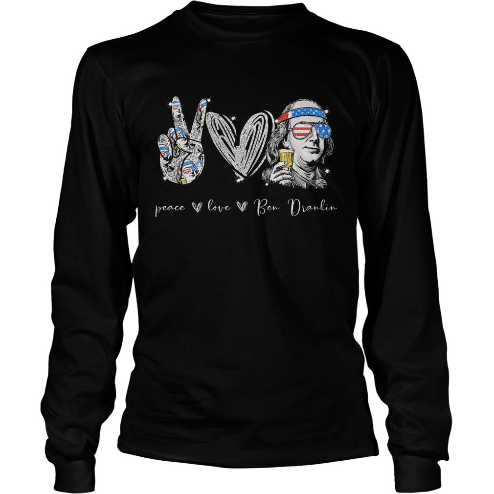 Peace Love Ben Dralin Hand Heart Cup American Flag Independence Day  Long Sleeve