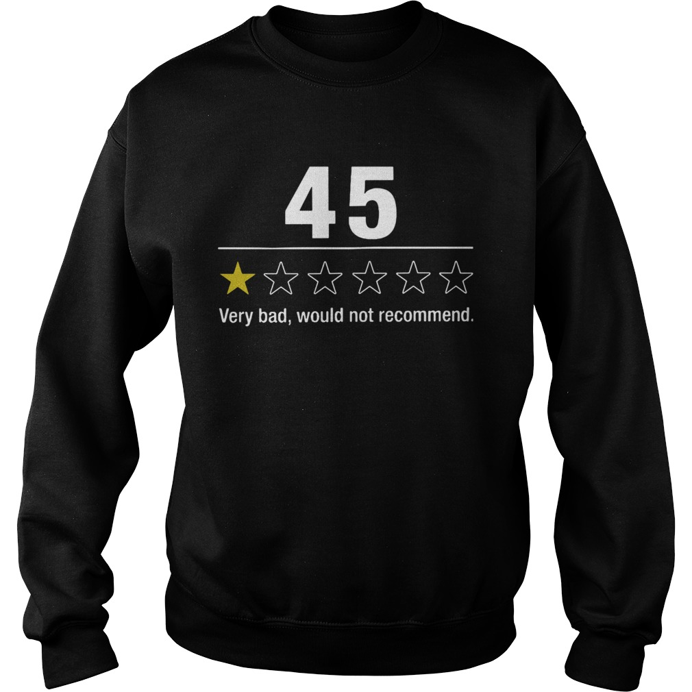 45 Very Bad Would Not Recommend  Sweatshirt