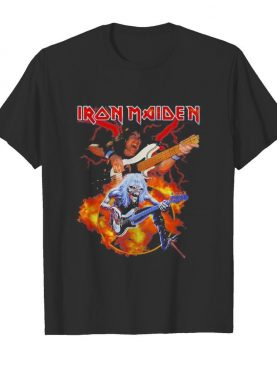 Skeleton iron maiden band guitar shirt