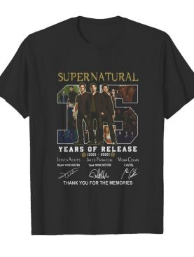 Supernatural 15 years of release 2005-2021 signatures thank you for the memories shirt