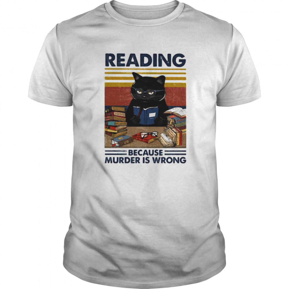Black cat reading because murder is wrong vintage retro  Classic Men's T-shirt