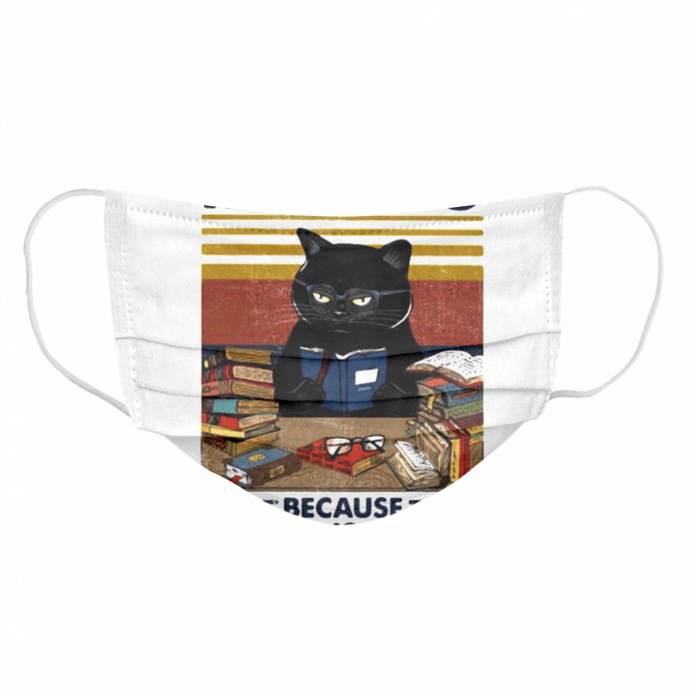Black cat reading because murder is wrong vintage retro  Cloth Face Mask