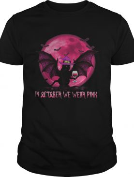 Halloween bat cat witch in october we wear pink moon shirt