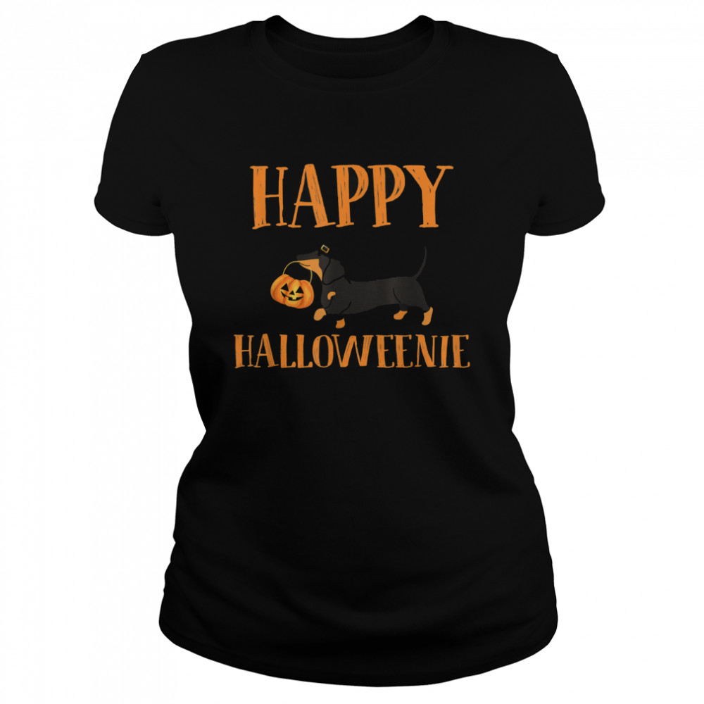 Dachshund With Jack O lantern Happy Halloweenie Halloween  Classic Women's T-shirt
