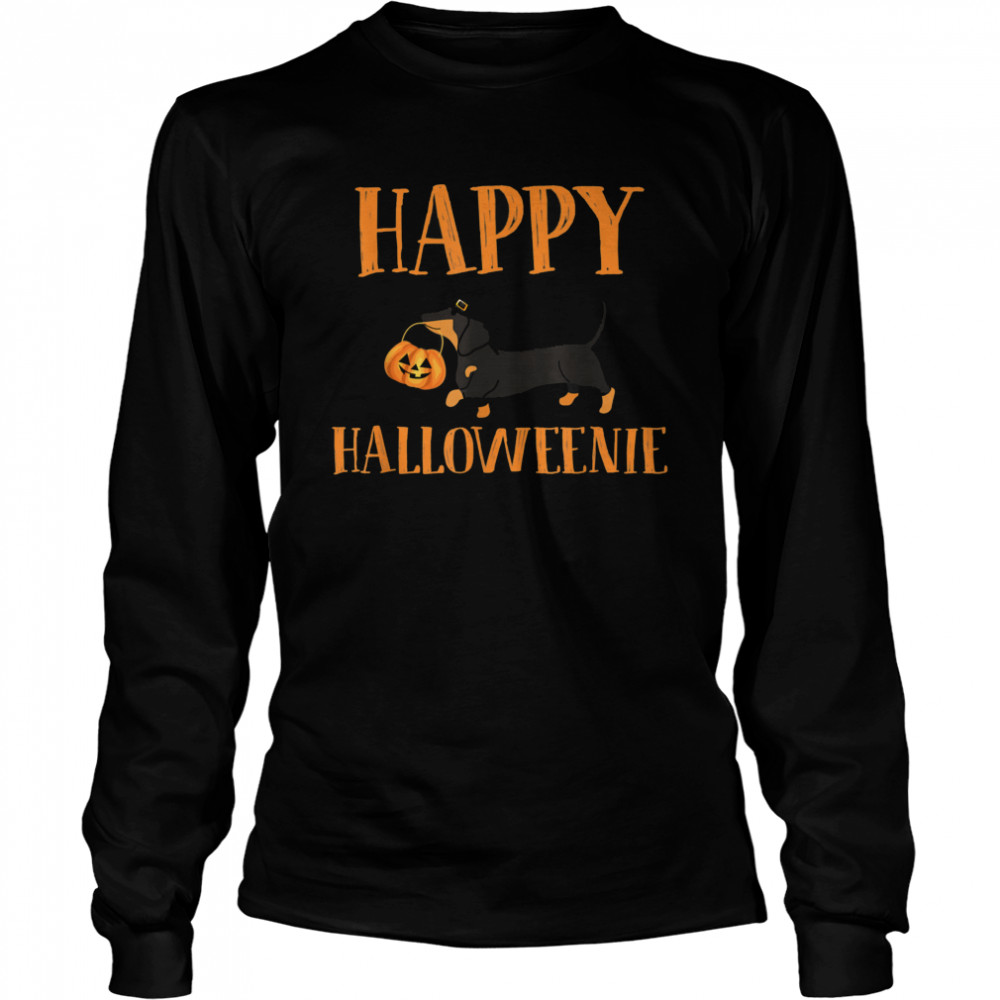 Dachshund With Jack O lantern Happy Halloweenie Halloween  Long Sleeved T-shirt