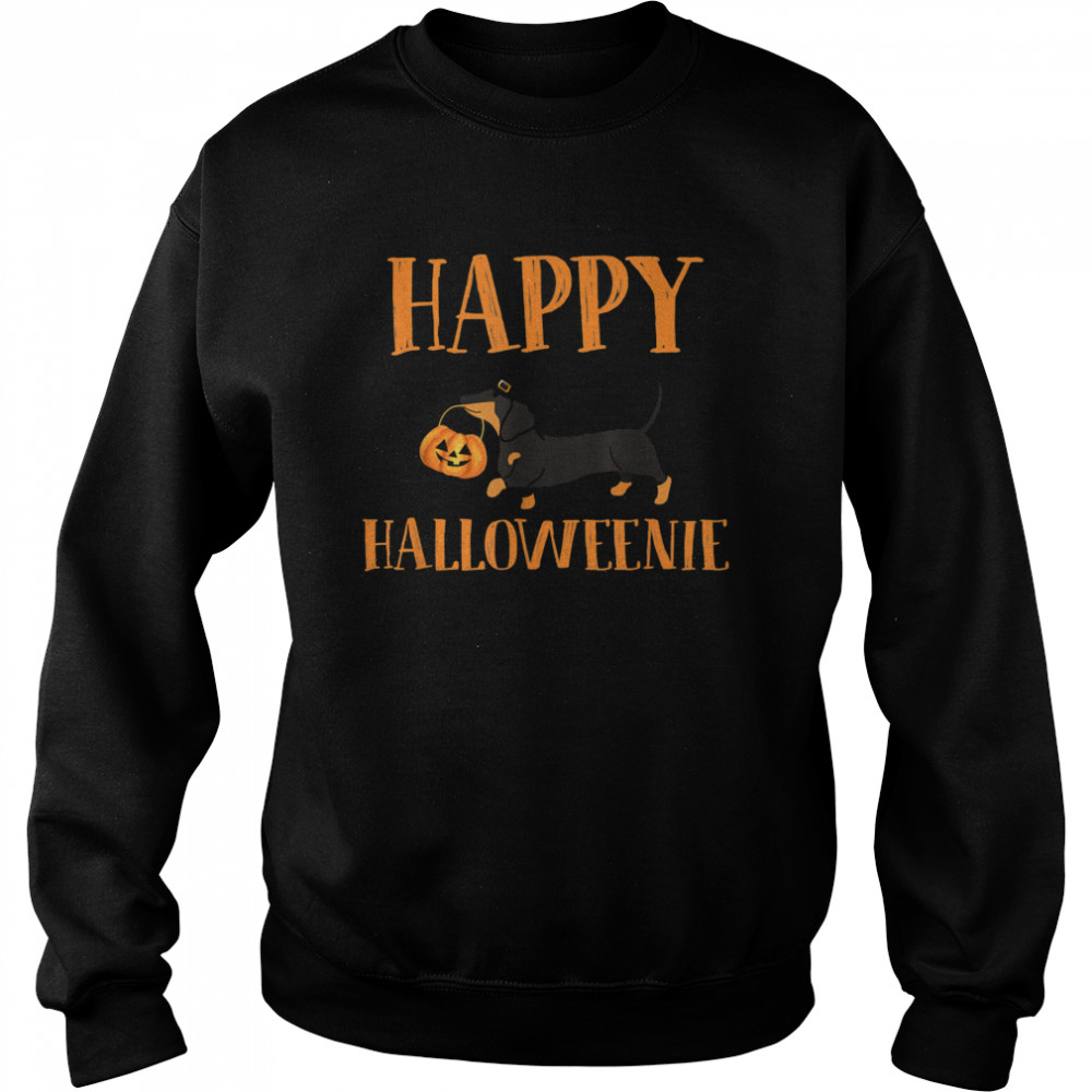 Dachshund With Jack O lantern Happy Halloweenie Halloween  Unisex Sweatshirt