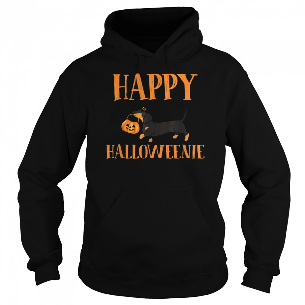 Dachshund With Jack O lantern Happy Halloweenie Halloween  Unisex Hoodie