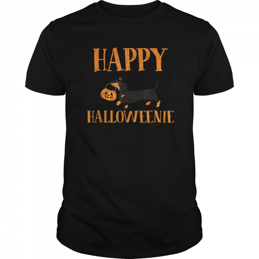 Dachshund With Jack O lantern Happy Halloweenie Halloween  Classic Men's T-shirt