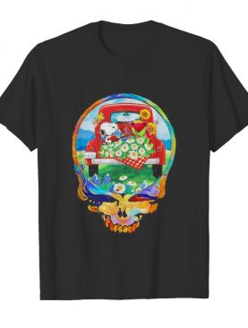 Grateful dead snoopy and bear playing guitar on car flowers shirt