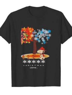 Snoopy and woodstock fall leaves snowflakes tree merry christmas loading shirt