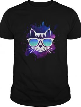 Cool Cat With Sunglasses Over Space shirt