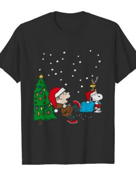 Charlie Brown And Snoopy And Woodstock Merry Christmas Tree shirt