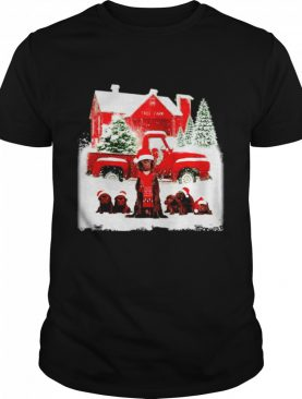 Chocolate Labrador Santa hat red Truck tree farm Christmas shirt