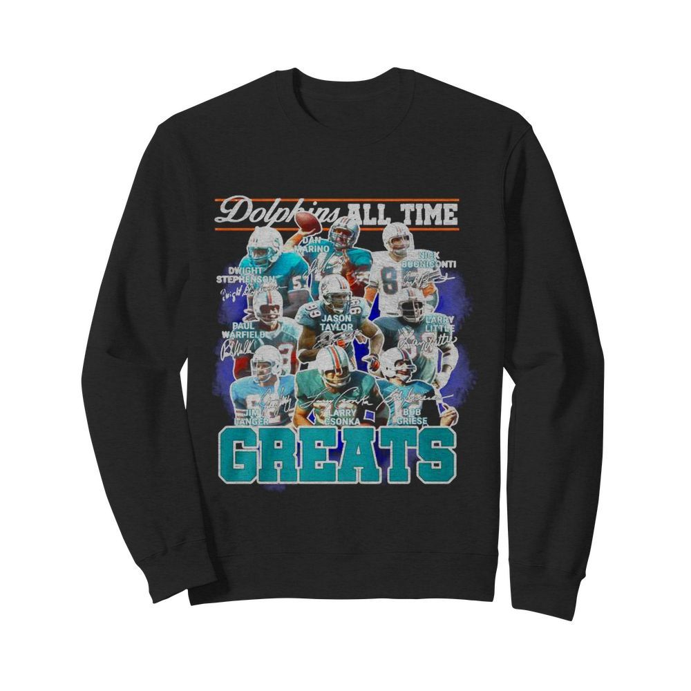 Dolphins All Time Greats Team Play Signatures  Unisex Sweatshirt