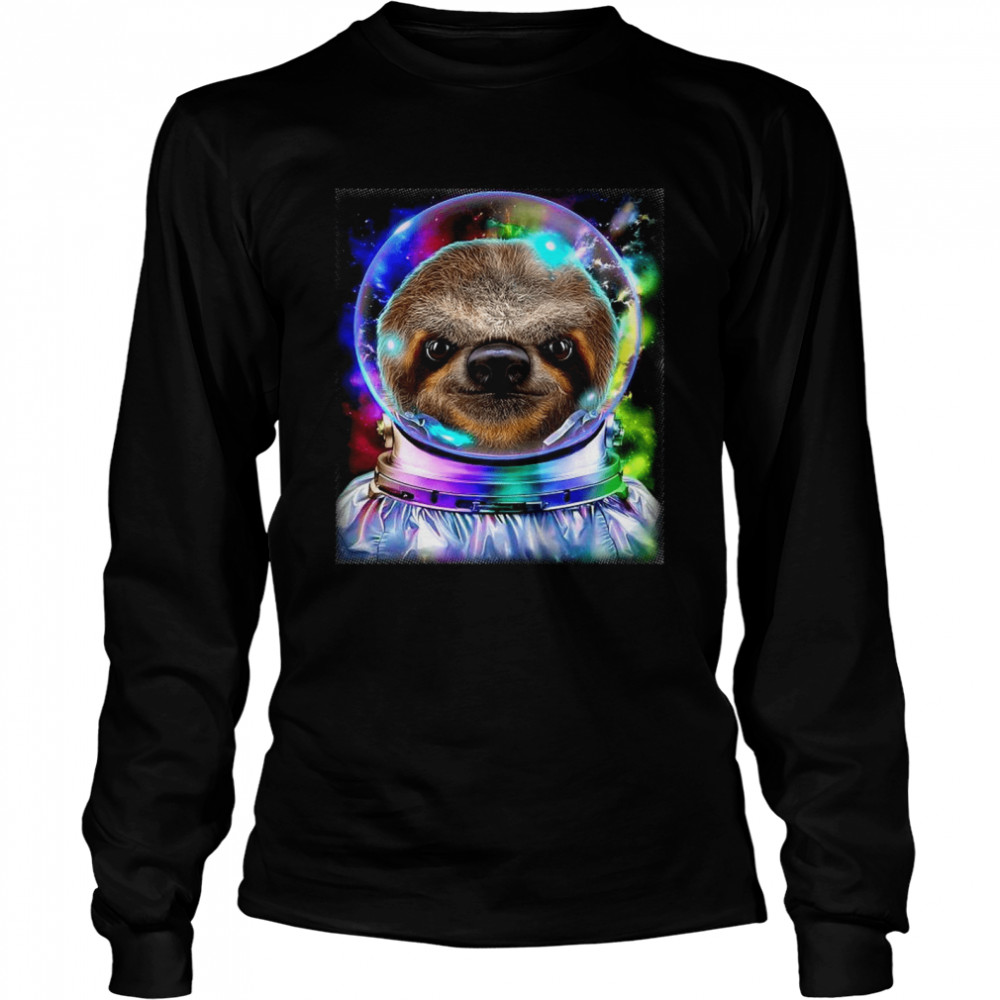 Giant Sloth As Astronaut Exploring Galaxy Space  Long Sleeved T-shirt