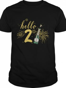Hello 2021 Champagne Bottle Fireworks New Years Party shirt