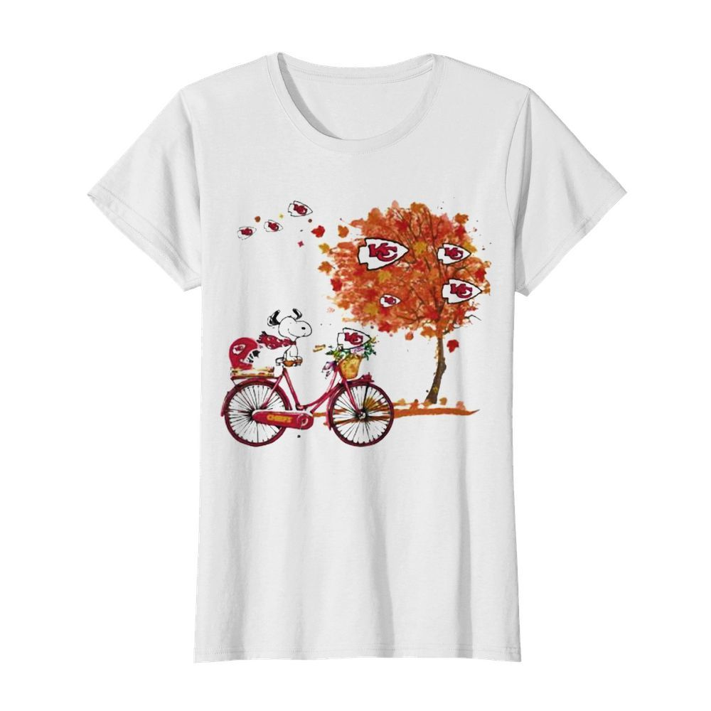 Maple Leaves Snoopy Riding Bike Logo Kansas City Chiefs  Classic Women's T-shirt