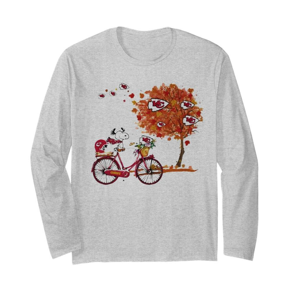 Maple Leaves Snoopy Riding Bike Logo Kansas City Chiefs  Long Sleeved T-shirt