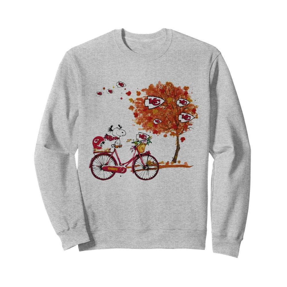 Maple Leaves Snoopy Riding Bike Logo Kansas City Chiefs  Unisex Sweatshirt