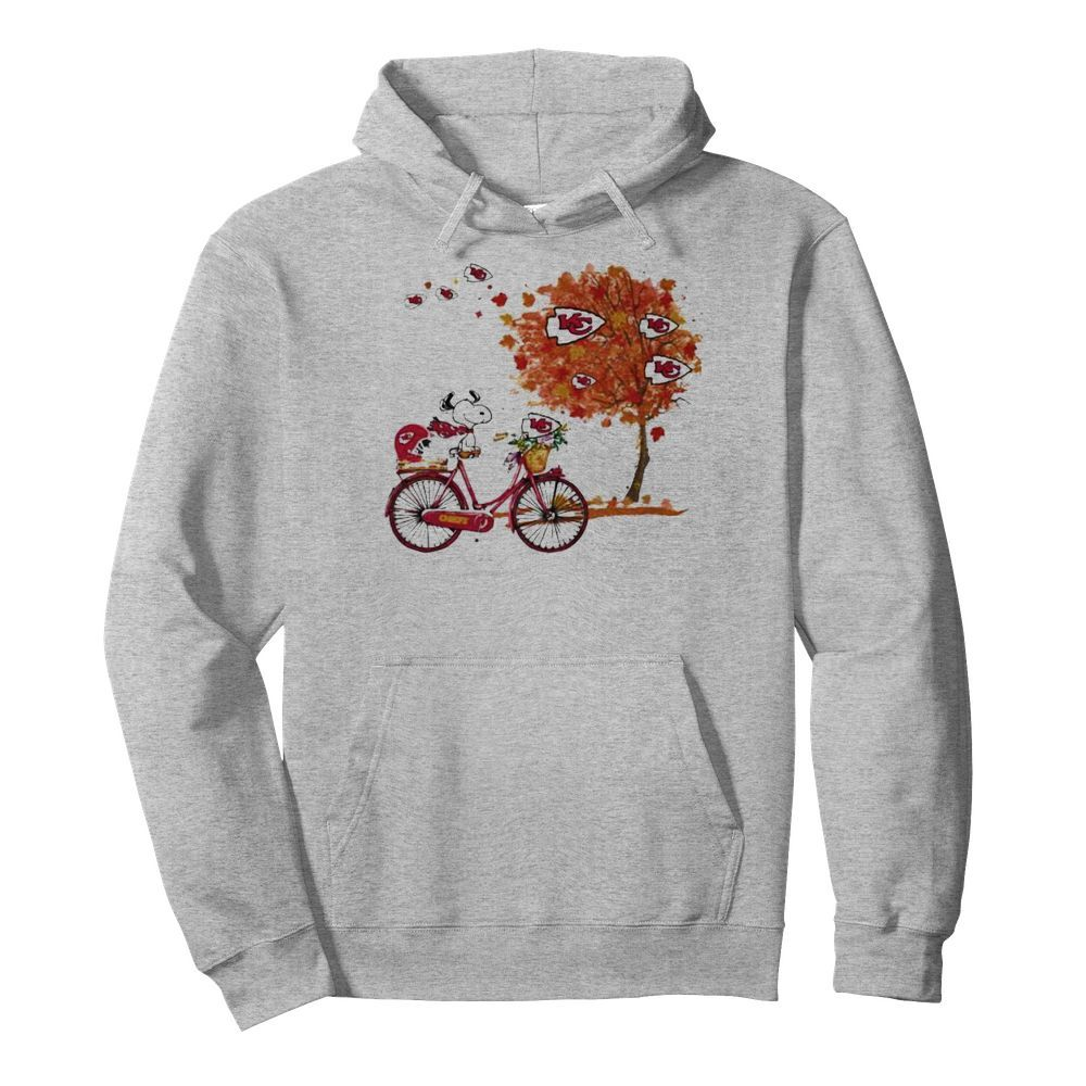Maple Leaves Snoopy Riding Bike Logo Kansas City Chiefs  Unisex Hoodie