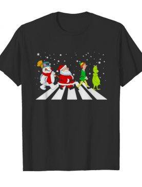 The Beatles Snowman Santa Elf And Grinch Abbey Road Christmas shirt
