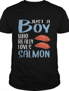 Mens BBQ Just A Boy Who Really Loves Salmon shirt